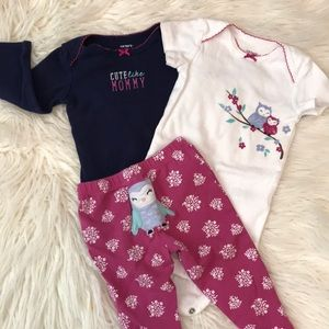 Three piece Owl Outfit 9 Months
